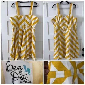 Mustard/white chevron print dress from ModCloth
